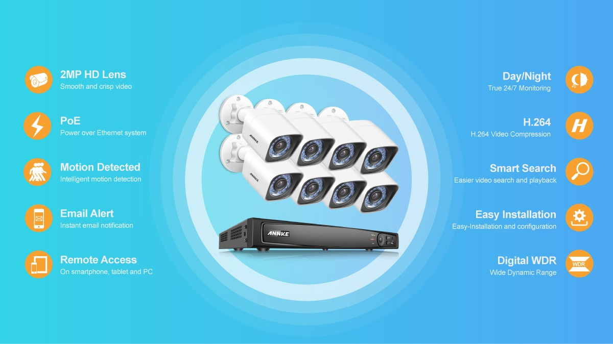 ANNKE 8CH 1080P HD PoE Network Video Security System NVR With 8 Bullet  Cameras - N48PI - I61DT